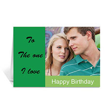 Custom Classic Green Photo Birthday Cards, 5X7 Folded Modern