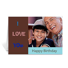 Custom Chocolate Brown Photo Birthday Cards, 5X7 Folded Modern