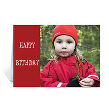 Custom Classic Red Photo Birthday Cards, 5X7 Folded Modern