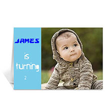 Custom Baby Blue Photo Birthday Cards, 5X7 Folded Modern
