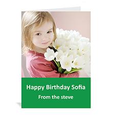 Custom Classic Green Photo Birthday Cards, 5X7 Portrait Folded Simple