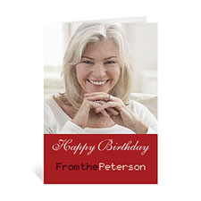 Custom Classic Red Photo Birthday Cards, 5X7 Portrait Folded Simple
