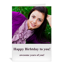 Custom Classic White Photo Birthday Cards, 5X7 Portrait Folded Simple