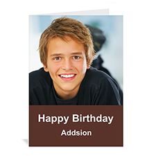 Custom Chocolate Brown Photo Birthday Cards, 5X7 Portrait Folded Simple