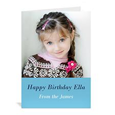 Custom Baby Blue Photo Birthday Cards, 5X7 Portrait Folded Simple