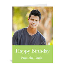 Custom Birthday Lime Photo Cards, 5X7 Portrait Folded Simple
