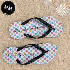 Design My Own Modern Dots With Custom Name, Men's Medium Flip Flop Sandals