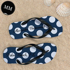 Design My Own Personalized Navy Polka Dot, Men's Medium Flip Flop Sandals