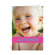 Custom Hot Pink Photo Birthday Cards, 5X7 Portrait Folded Causal