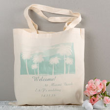 Aqua Destination Wedding Palm Tree Custom Cotton Tote Bag