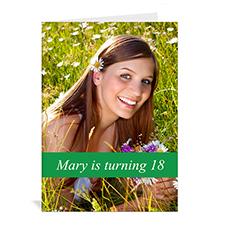Custom Classic Green Photo Birthday Cards, 5X7 Portrait Folded Causal