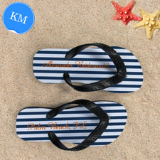 Design My Own Blue White Stripes Personalized Name, Kid's Medium Flip Flops