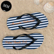 Design My Own Blue White Stripes Personalized Name, Men's Medium Flip Flop Sandals