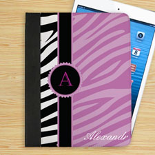 Personalized Lavender And Black Zebra Pattern Personalized Name Folio Case