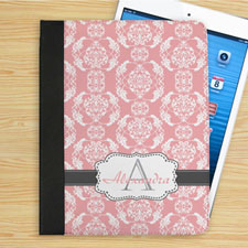 Personalized Elegant Pink And Grey Damask Monogrammed Folio Case