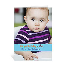 Baby Blue Photo Birthday Cards, 5x7 Portrait Folded Causal