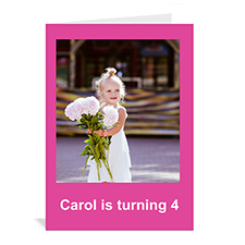 Custom Hot Pink Photo Birthday Cards, 5X7 Portrait Folded