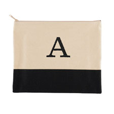Embroidered One Initial Natural Black Zip Bag (7.5 X 9 Inch)