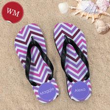 Design My Own Colors Chevron Personalized Monogrammed, Women's Medium Flip Flop Sandals