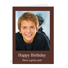 Custom Chocolate Brown Photo Birthday Cards, 5X7 Portrait Folded