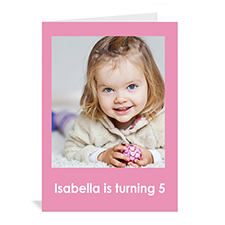 Custom Baby Pink Photo Birthday Cards, 5X7 Portrait Folded