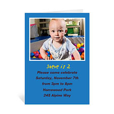 Custom Classic Blue Photo Birthday Cards, 5X7 Portrait Folded