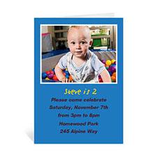 Custom Classic Blue Photo Birthday Cards, 5X7 Portrait Folded