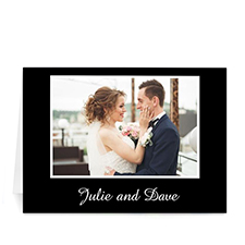 Custom Classic Black Photo Wedding Cards, 5X7 Folded