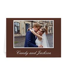 Custom Chocolate Brown Wedding Photo Cards, 5X7 Folded