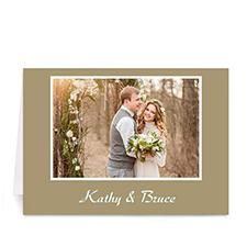 Custom Gold Photo Wedding Cards, 5X7 Folded