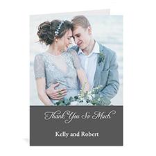 Custom Classic Grey Wedding Photo Cards, 5X7 Portrait Folded Simple
