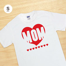Custom Print Red Heart Mom White Adult Small T Shirt
