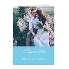 Custom Baby Blue Wedding Photo Cards, 5X7 Portrait Folded Simple