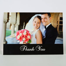 Custom Classic Black Wedding Photo Cards, 5X7 Folded Simple