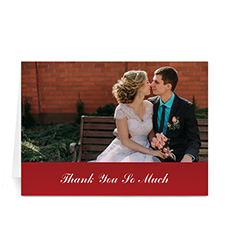 Custom Classic Red Wedding Photo Cards, 5X7 Folded Simple