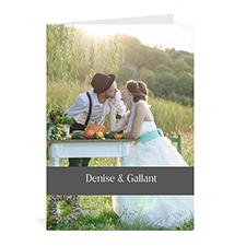 Custom Classic Grey Wedding Photo Cards, 5X7 Portrait Folded Causal