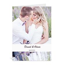 Custom Classic White Wedding Photo Cards, 5X7 Portrait Folded Causal
