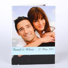 Custom Baby Blue Wedding Photo Cards, 5X7 Portrait Folded Causal