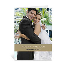Custom Timeless Gold Wedding Photo Cards, 5X7 Portrait Folded Causal