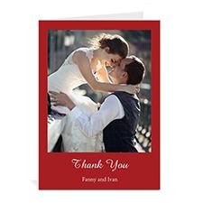 Custom Classic Red Wedding Photo Cards, 5X7 Portrait Folded