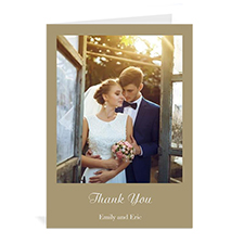 Personalized Timeless Gold Wedding Photo Cards, 5X7 Portrait Folded