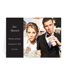 Personalized Classic Black Wedding Photo Cards, 5X7 Folded Modern