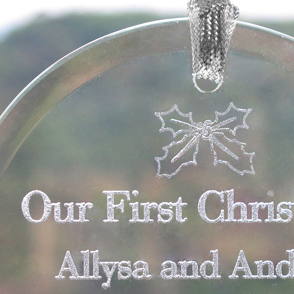 personalized laser etched babys first christmas glass ornament view view close up