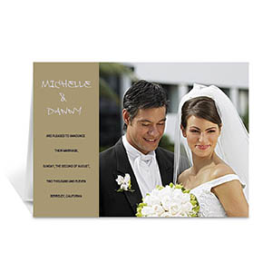 Personalized Timeless Gold Wedding Photo Cards, 5X7 Folded Modern