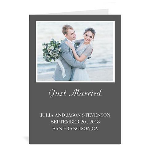 Personalized Classic Grey Wedding Photo Cards, 5X7 Portrait Folded