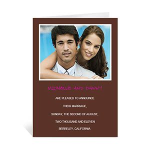 Chocolate Brown Wedding Photo Cards, 5x7 Portrait Folded