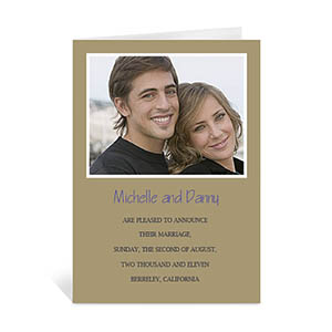 Personalized Timeless Gold Wedding Photo Cards, 5X7 Portrait Folded