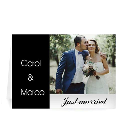 Personalized Classic Black Wedding Photo Cards, 5X7 Folded Modern