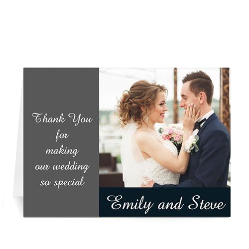 Personalized Classic Grey Wedding Photo Cards, 5X7 Folded Modern
