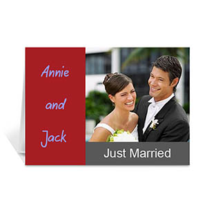Classic Red Wedding Photo Cards, 5x7 Folded Modern